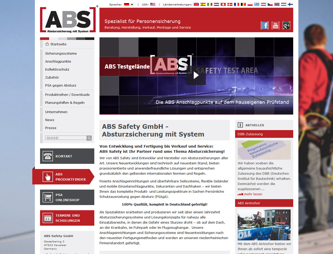 Screenshot Suchmaschinenoptimierung national international ABS
